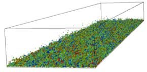 Mach 2.25 turbulent boundary layer visualized by vorticity isosurfaces colored by span-wise velocity contours.